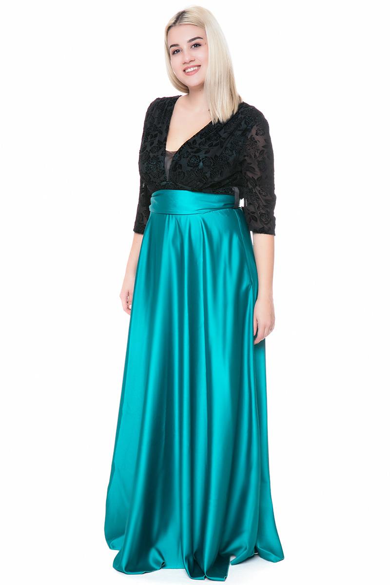 Maxi σατέν φόρεμα με βελουτέ μπούστο σε μαύρο πράσινο χρώμα 3ca136ed1c7