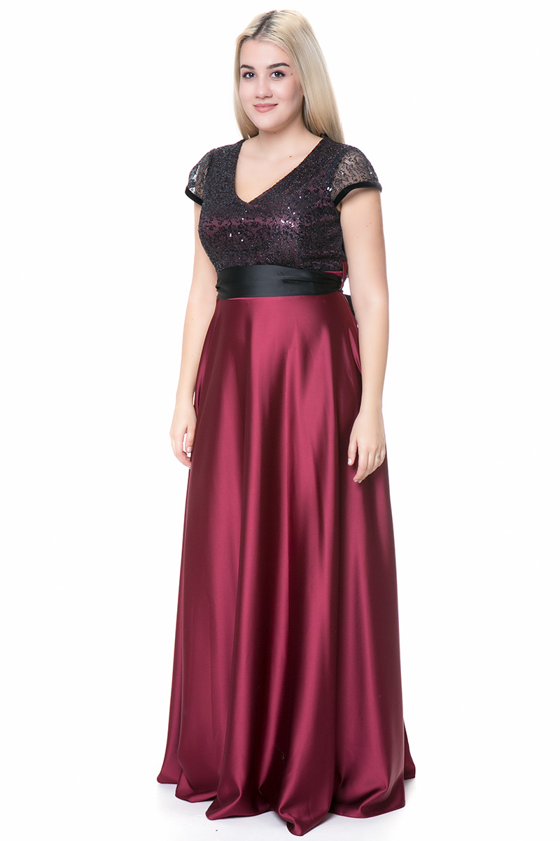 Maxi σατέν φόρεμα με ζώνη σε μαύρο μπορντό χρώμα 967019228e6