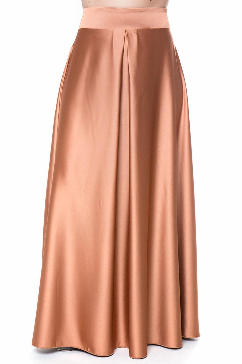 8666fa42f393 Maxi φούστα Καμηλό χρώμα Satin like Άλφα γραμμή Φερμουάρ στο πλάι Πιέτα στη  μέση Σύνθεση