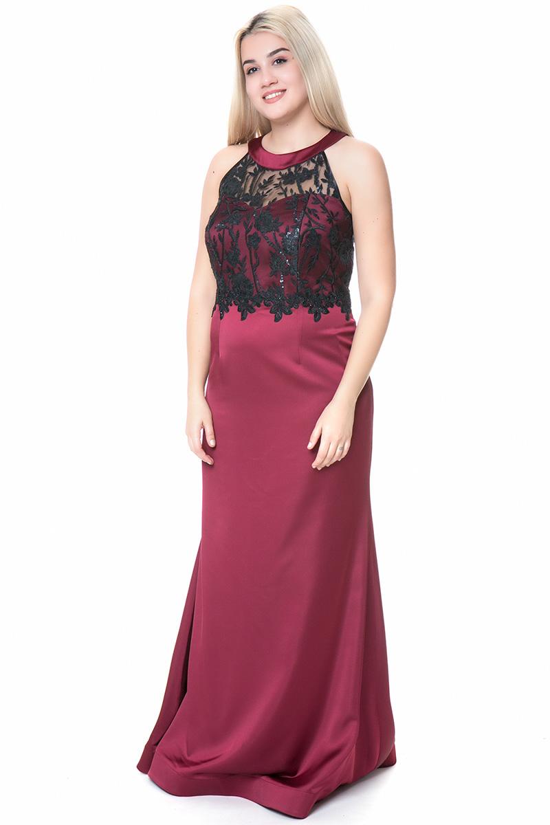 744af0cf38ce Maxi satin-like φόρεμα με μπούστο σε γκρενά χρώμα