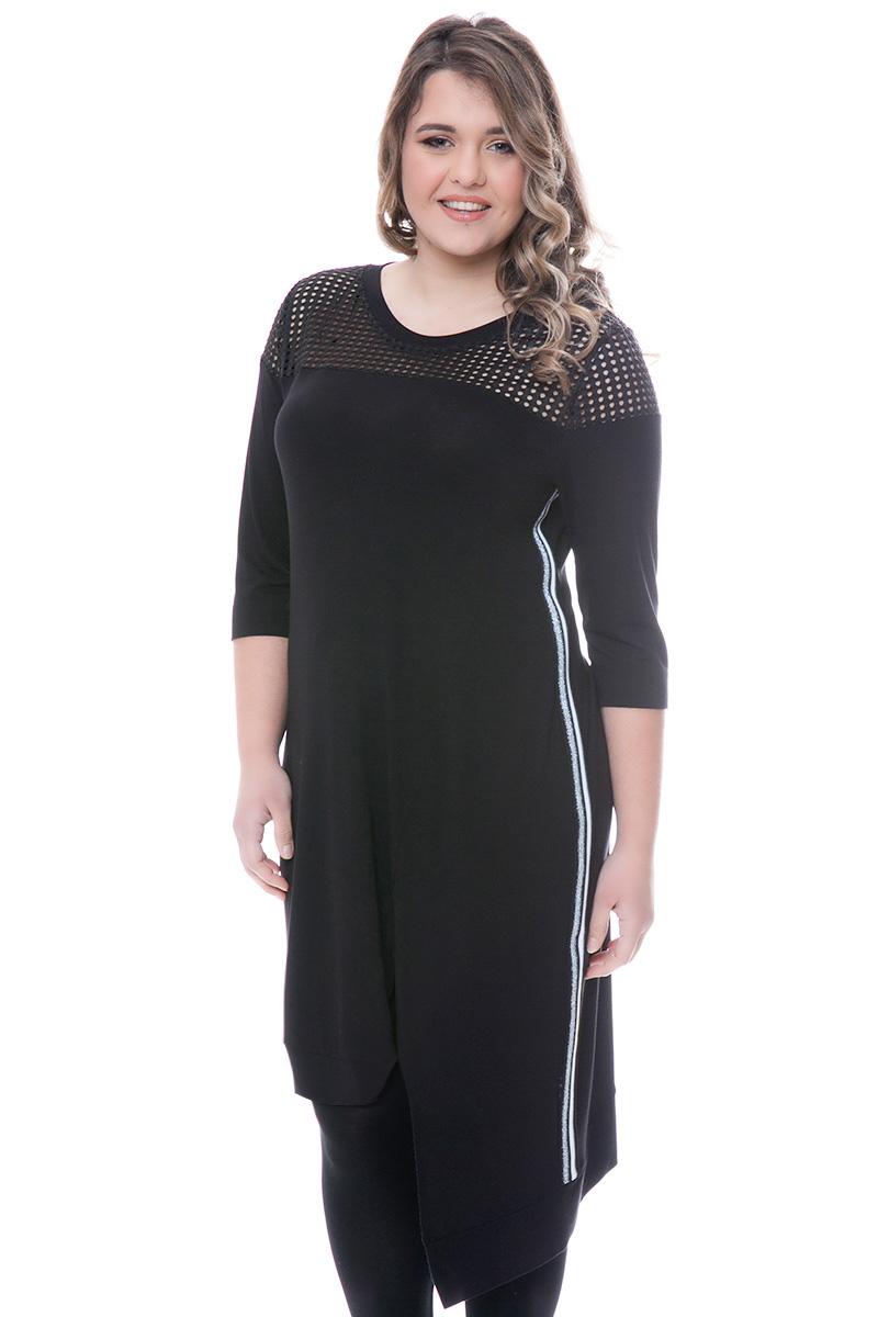3a9bdad3a63 Midi φόρεμα Χρώμα μαύρο Διαθέτει ασύμμετρο τελείωμα Δίχτυ στην περιοχή του  μπούστου 3/4 μανίκια