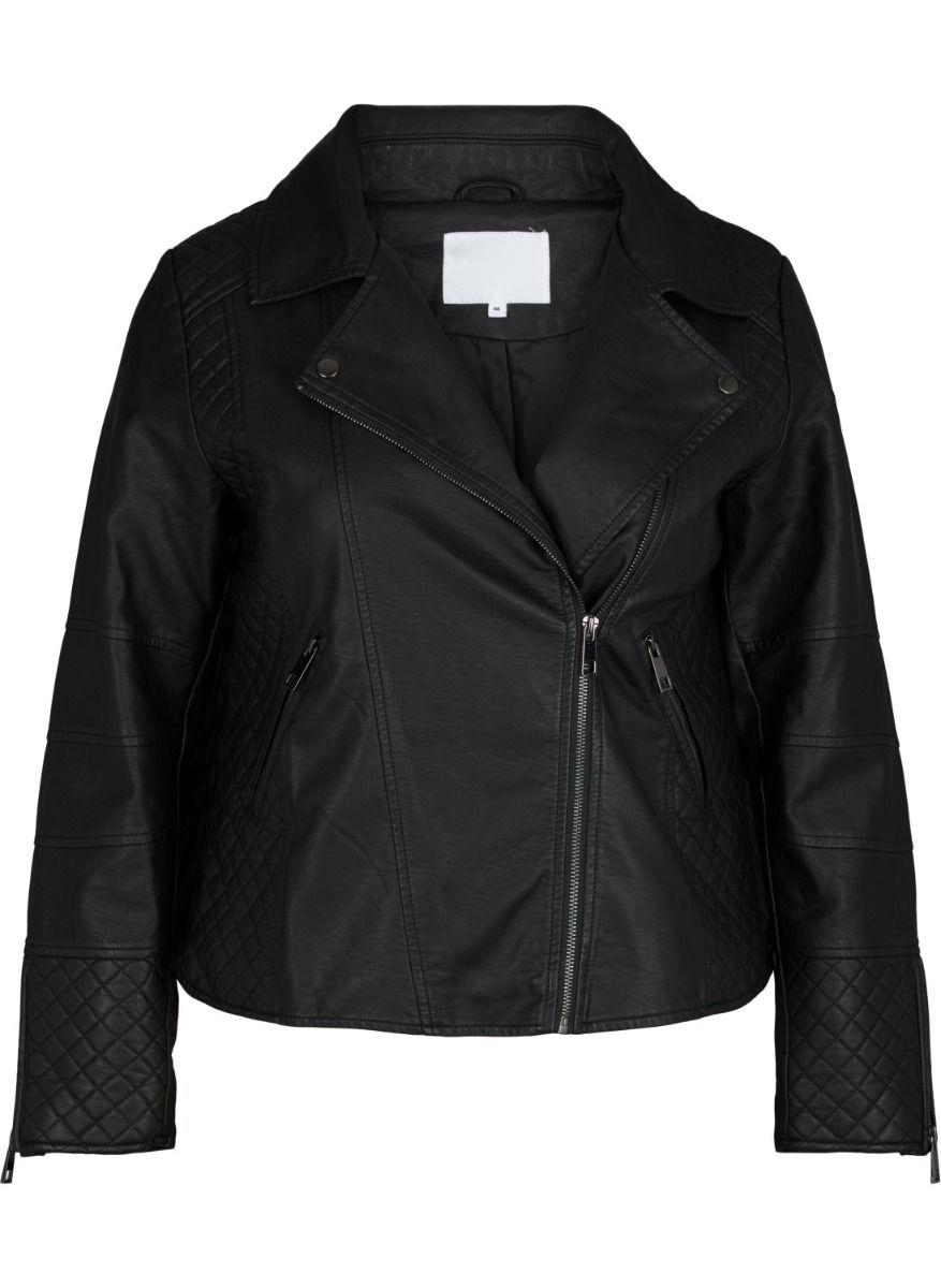 Leather-like jacket Μαύρο χρώμα Μακριά μανίκια Με ανοιχτή λαιμόκοψη Κλείσιμο με φερμουάρ Τσέπη με φερμουάρ Διαθέτει καπιτονέ σχέδια Σταθερό ύφασμα Σύνθεση50%POL 50%VISC Η γραμμή είναι κανονική - Συμβουλευτείτε το μεγεθολόγιο. Κατάλληλο για όλες τις ώρες και περιστάσεις. Διαθέσιμα μεγέθη από 42 έως 54. Το μοντέλο έχει ύψος 1.75cm και φοράει μέγεθος 42.
