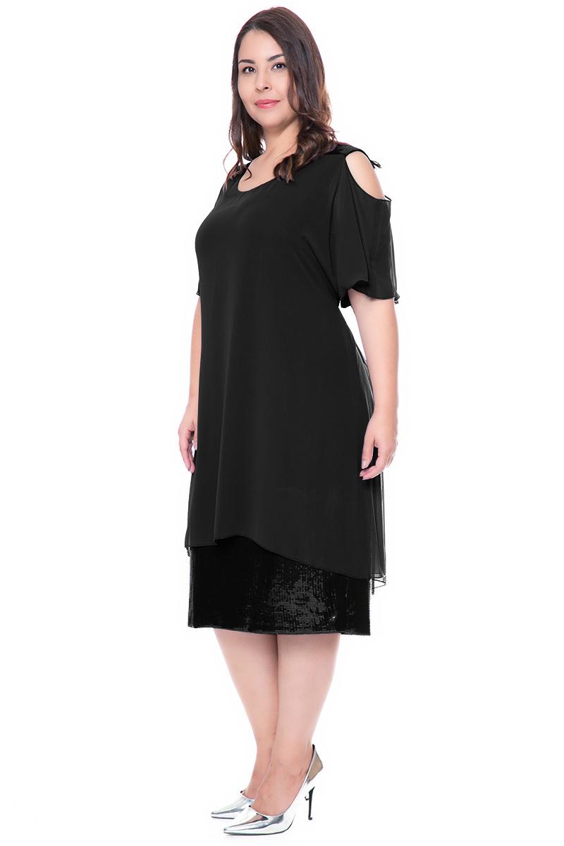 f38a0b4537c2 Φόρεμα midi Μαύρο χρώμα Τελείωμα όλο παγέτα Κοντά μανίκια τύπου cold  shoulders Ανοιχτή λαιμόκοψη Σταθερό ύφασμα