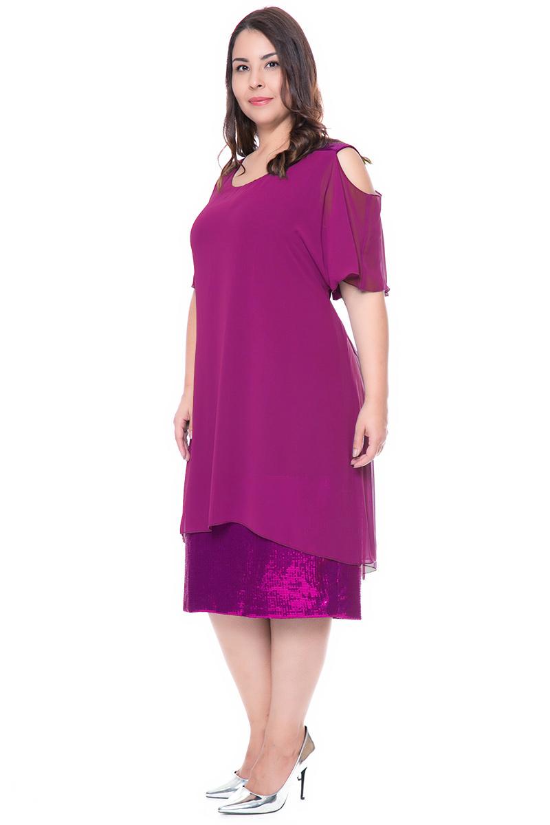 524a63880988 Φόρεμα midi Μελιτζανί χρώμα Τελείωμα όλο παγέτα Κοντά μανίκια τύπου cold  shoulders Ανοιχτή λαιμόκοψη Σταθερό ύφασμα