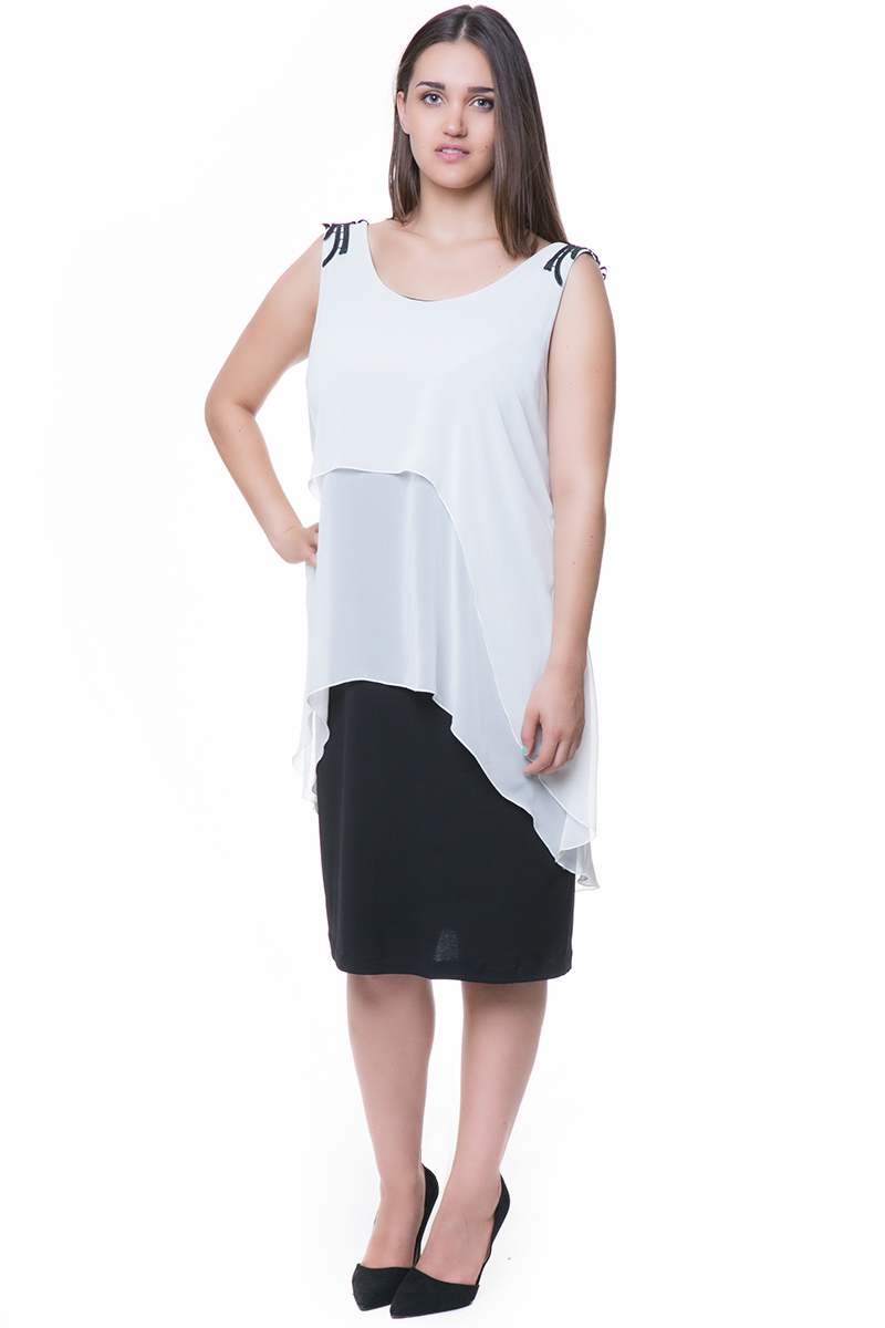 164ffa58342d Midi φόρεμα με δαντελένιο μοτίφ στην πλάτη και layering από μουσελίνα
