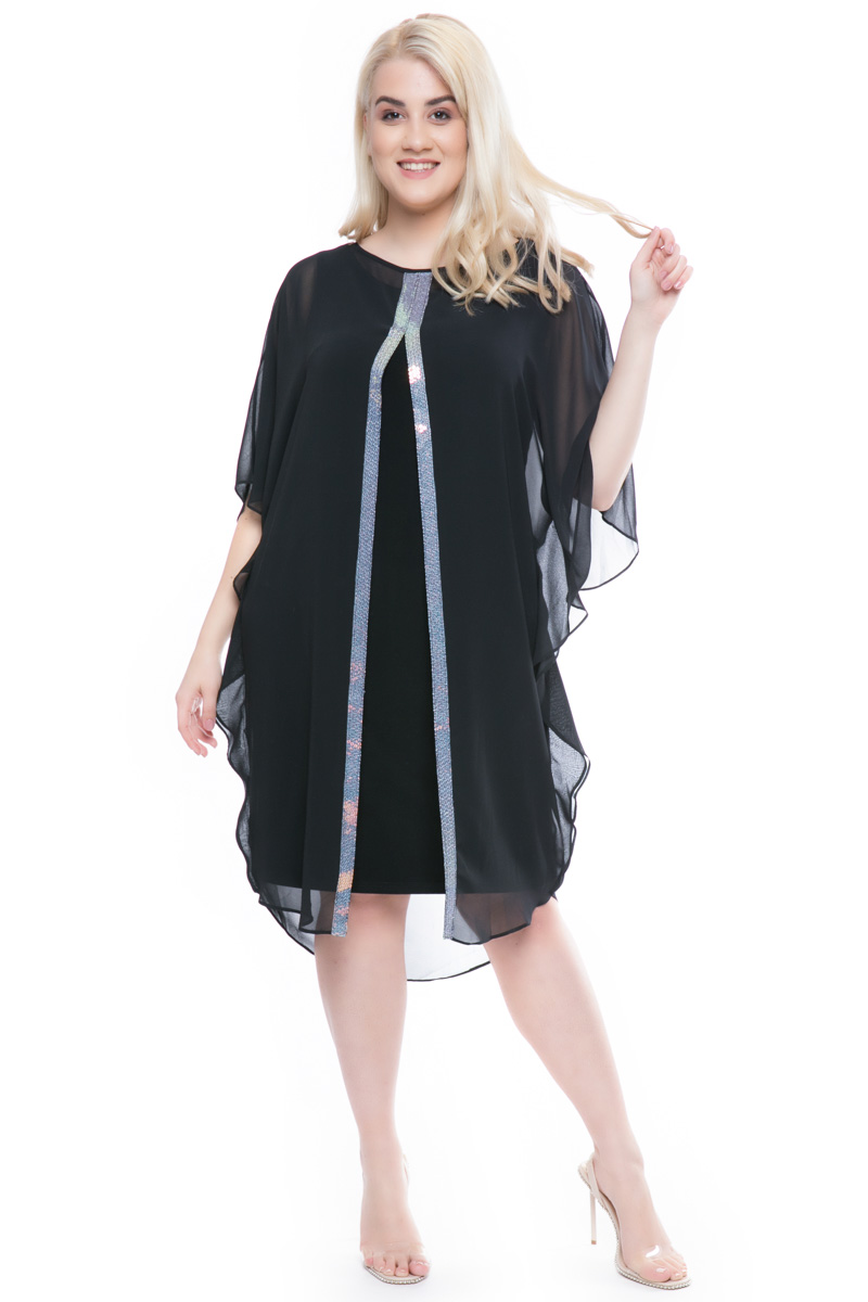 ae22b4f0d5f7 Φόρεμα midi Μαύρο χρώμα Διαθέτει παγιέτες στο μπροστινό μέρος Μουσελίνα στο  πάνω μέρος Άνοιγμα μπροστά Κλειστή