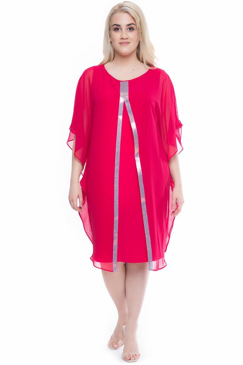 d2b03d00938f Φόρεμα midi Ροδί χρώμα Διαθέτει παγιέτες στο μπροστινό μέρος Μουσελίνα στο πάνω  μέρος Άνοιγμα μπροστά Κλειστή