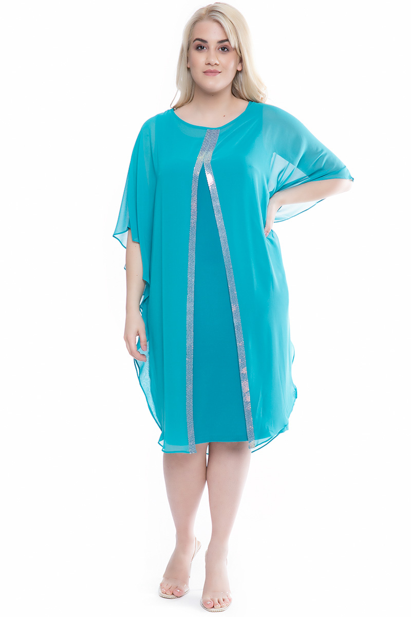 18c0a23d93d7 Φόρεμα midi Σμαραγδί χρώμα Διαθέτει παγιέτες στο μπροστινό μέρος Μουσελίνα  στο πάνω μέρος Άνοιγμα μπροστά Κλειστή