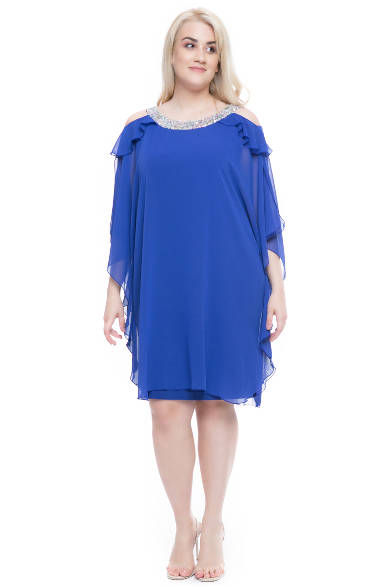 3787a7833c29 Φόρεμα midi Ρουά χρώμα Διαθέτει παγιέτες στην λαιμόκοψη Μουσελίνα στο πάνω  μέρος Άνοιγμα στους ώμους Ανοιχτή