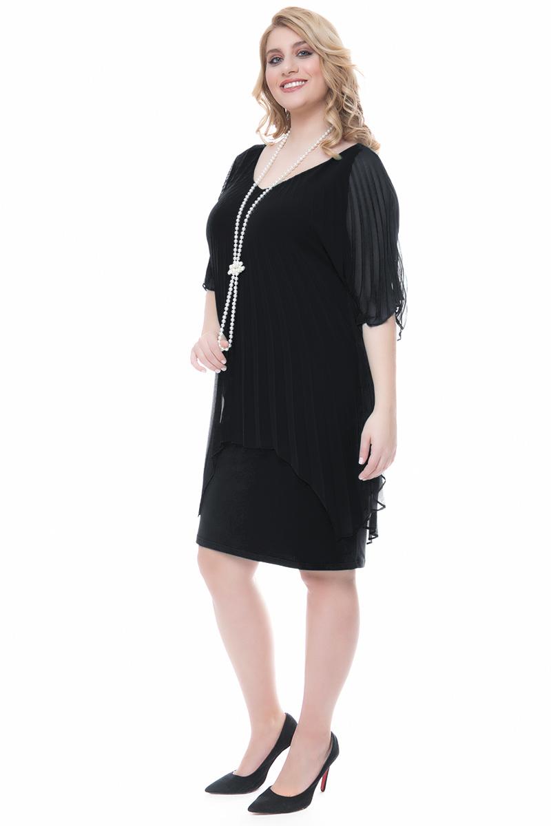 5a223d24a0c9 Φόρεμα midi με κολιέ Μαύρο χρώμα Μουσελίνα στο πάνω μέρος Αμάνικο εσωτερικό  Ανοιχτή λαιμόκοψη Ελαστικό ύφασμα