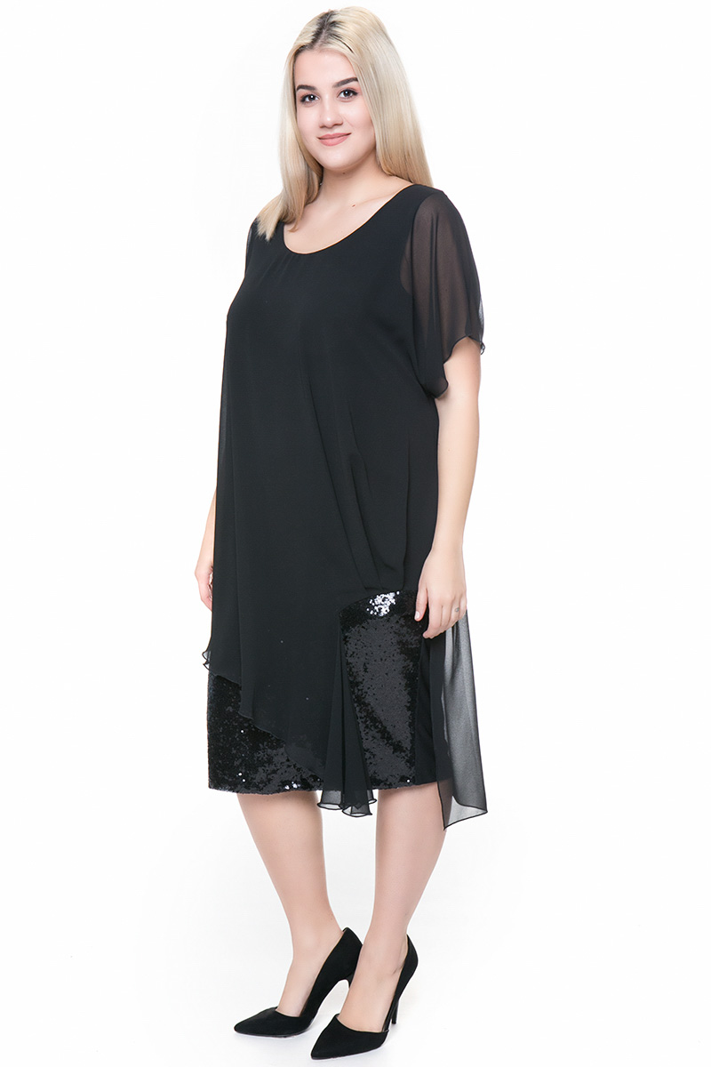 f6b46803f686 Φόρεμα midi Μαύρο χρώμα Τελείωμα όλο παγέτα Κοντά μανίκια Ανοιχτή λαιμόκοψη  Σταθερό ύφασμα Σύνθεση 100%