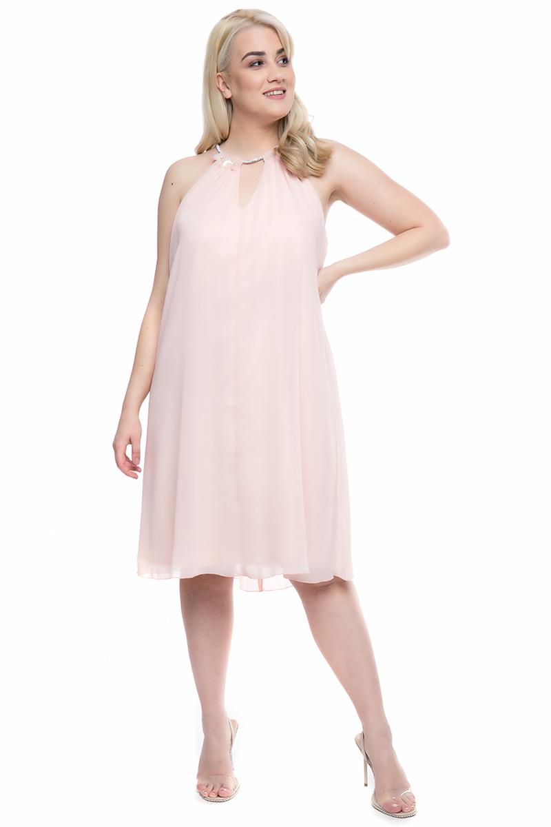 8f0983dbb286 Φόρεμα midi Χρώμα της πούδρας Λουλούδια στο ντεκολτέ Αμάνικο Άνοιγμα στο  στήθος Σταθερή επένδυση satin-