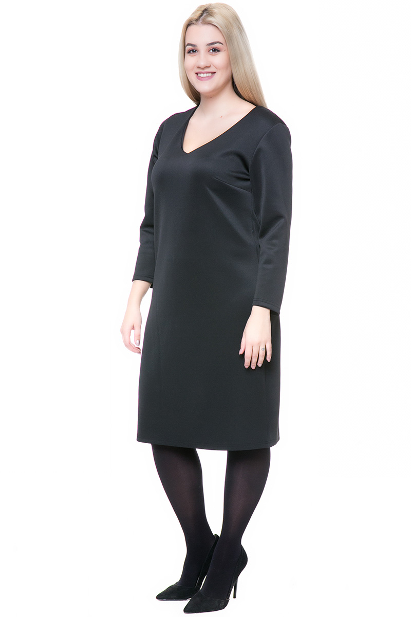 Midi φόρεμα Χρώμα μαύρο Μακριά μανίκια V λαιμόκοψη Στενή γραμμή Ελαστικό scuba ύφασμα Σύνθεση:95%POL 5%EL Η γραμμή είναι κανονική - επιλέξτε το κανονικό σας μέγεθος.Ιδανικό outfit από το πρωί μέχρι το βράδυ. Διαθέσιμα μεγέθη από XS εώς XXL.
