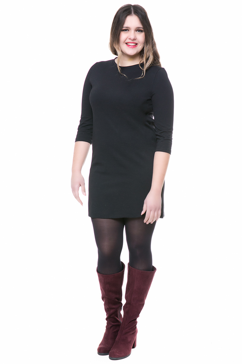 Mini μαύρο ελαστικό φόρεμα με 3 4 μανίκια f94274795a4