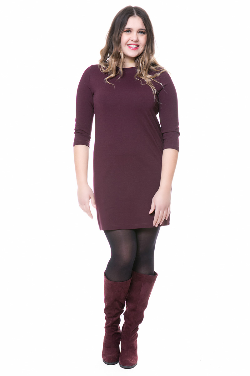 3c876aa18ba8 Mini φόρεμα Μπορντό χρώμα 3 4 μανίκια Στενή γραμμή Ελαστικό ύφασμα Σύνθεση  65%RAY