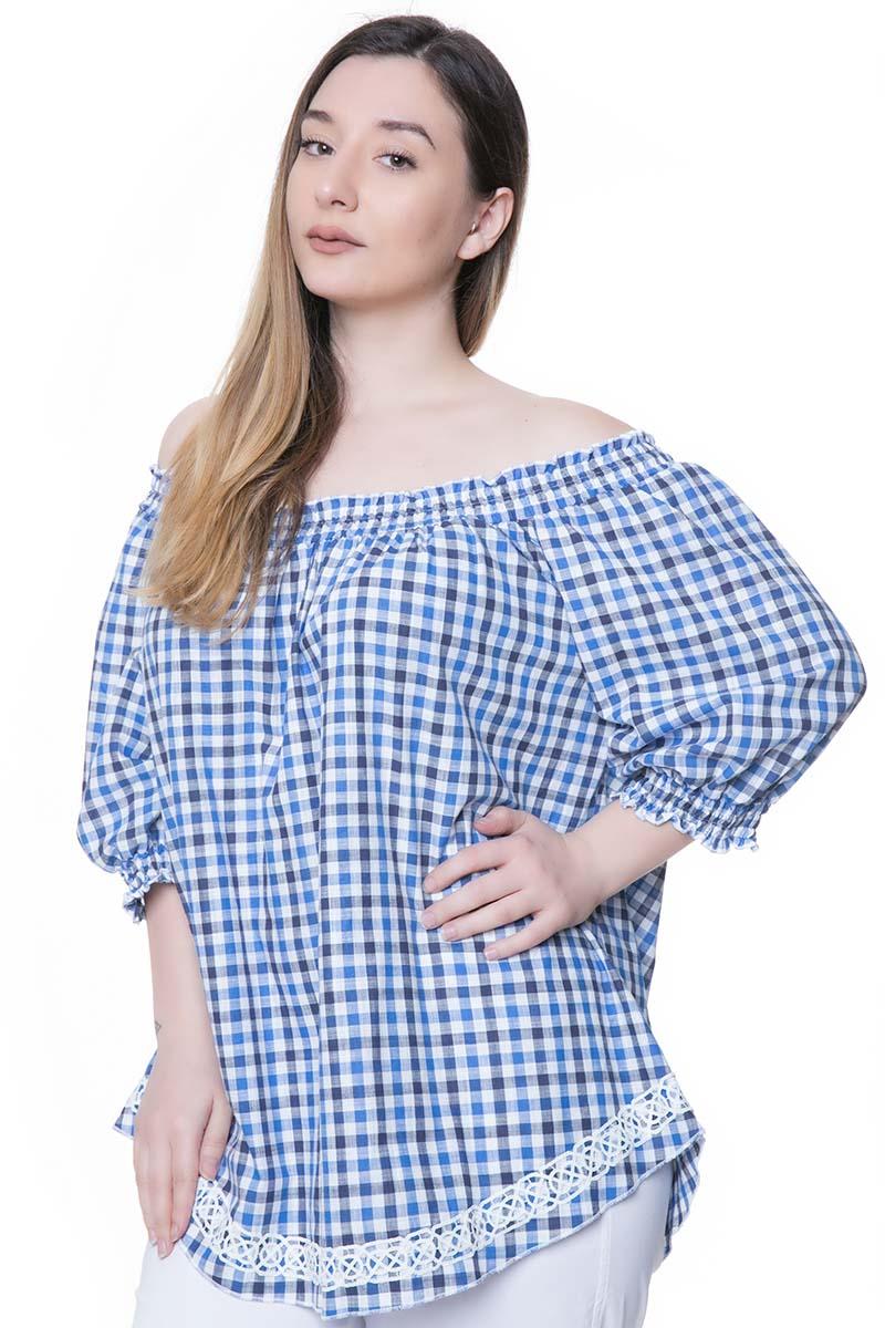 47266a82330c Update   Καρό μπλούζα με boatneck λαιμόκοψη - GoldenShopping.gr
