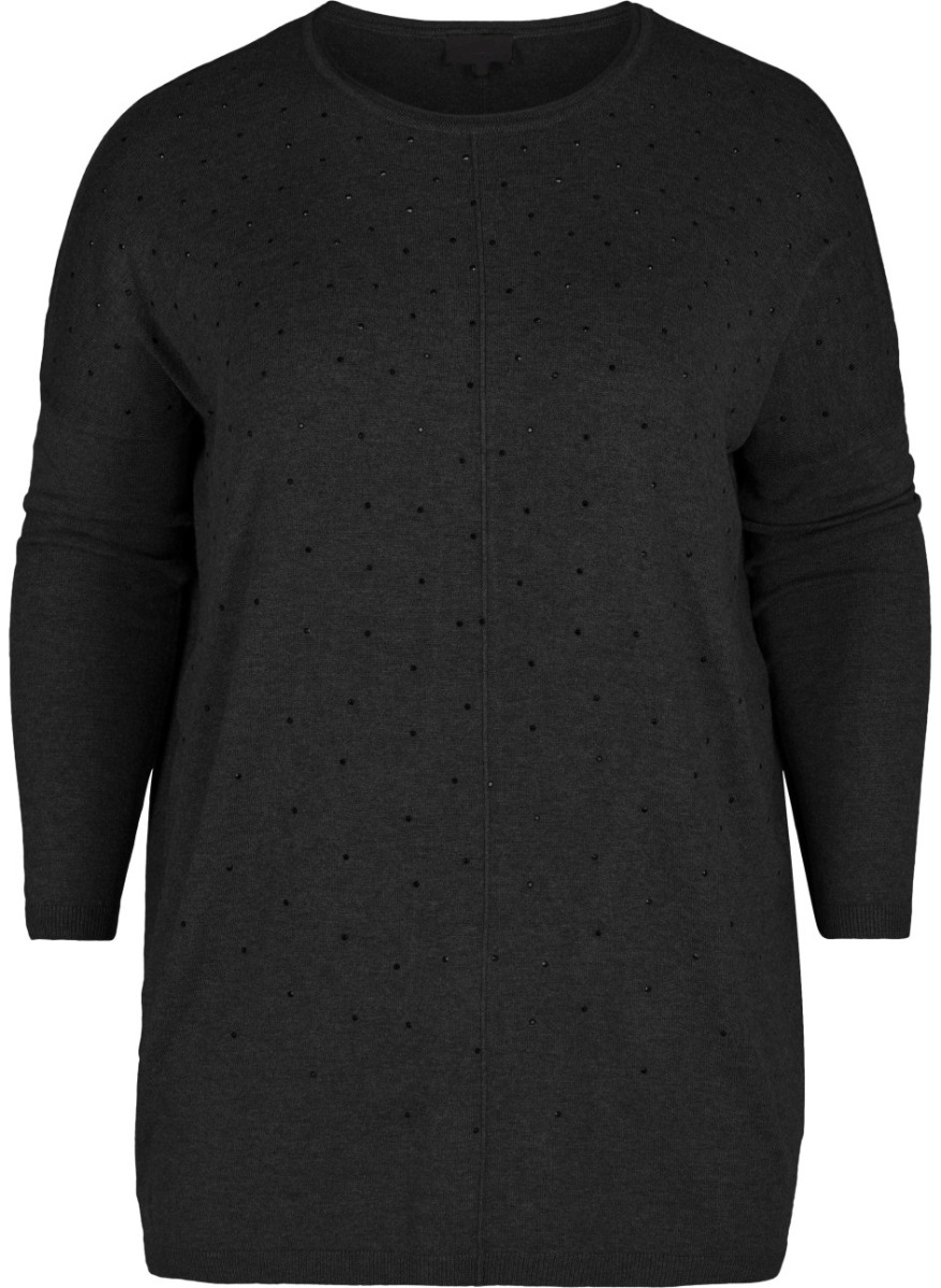 Πλεκτή μπλούζα Χρώμα μαύρο Μακριά μανίκια Στρας στο μπροστινό μέρος Κάθετη ραφή Κλειστή λαιμόκοψη Ελαστικό ύφασμα Ίσια γραμμή Σύνθεση80%VISC 20%NYL Η γραμμή είναι κανονική - επιλέξτε το κανονικό σας μέγεθος.Η ιδανική πλεκτή μπλούζα για υπέροχα cosy outfits!Διαθέσιμα μεγέθη από S έως XL.