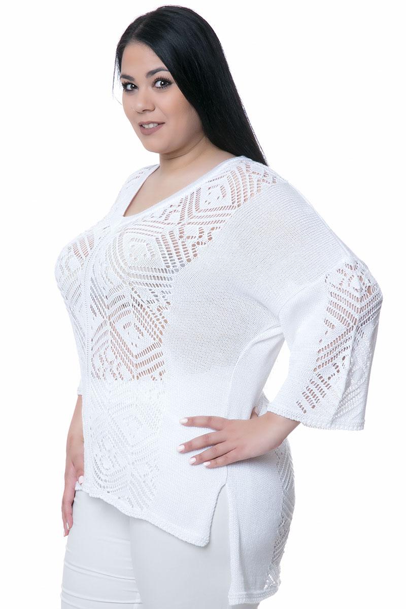 863a0f46a304 Λευκή πλεκτή μπλούζα