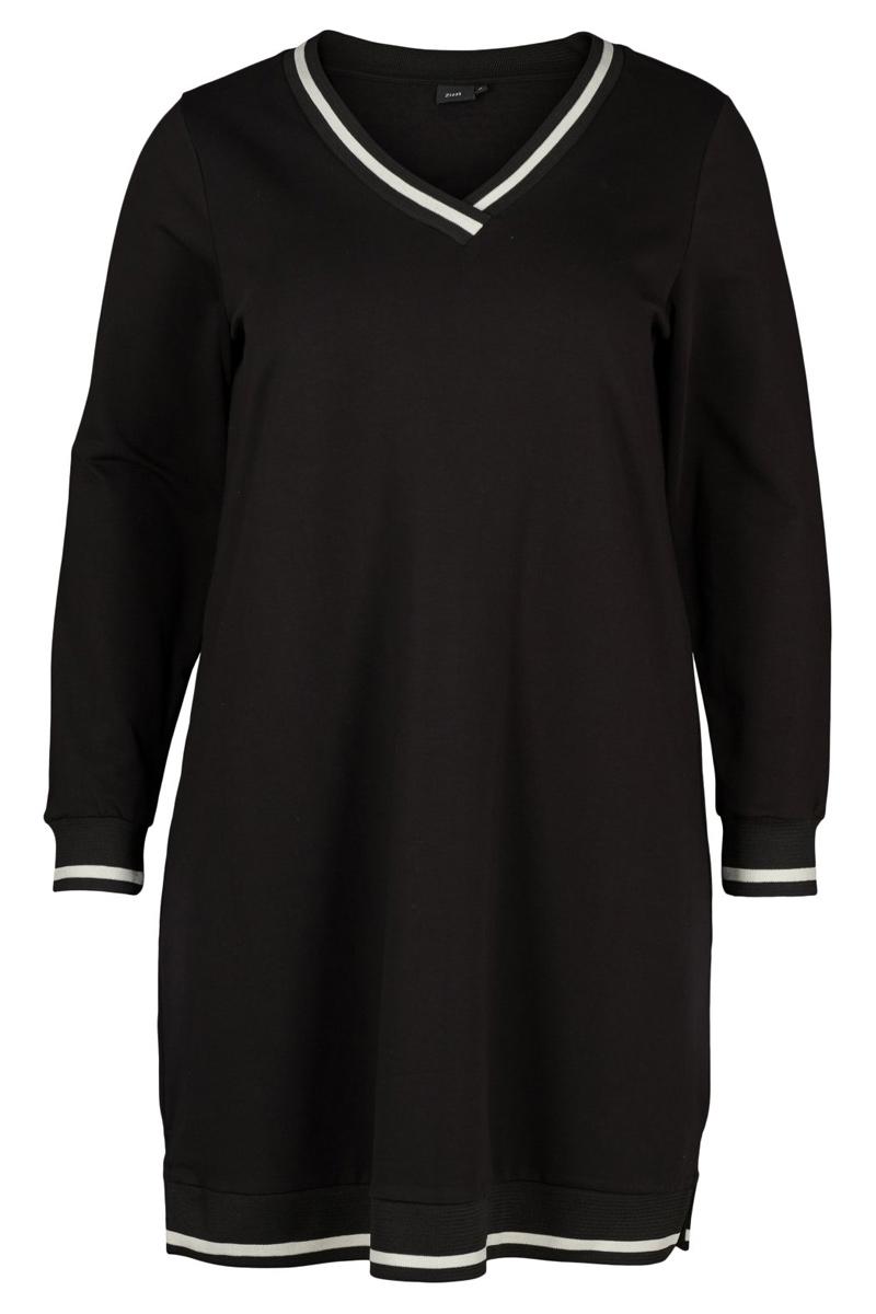 462e98960d1a Μαύρο φόρεμα με λευκό ριπ τελείωμα