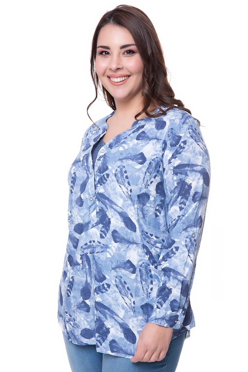 b97c64823487 Μπλούζα Χρώμα μπλε Μακριά μανίκια V λαιμόκοψη με κουμπάκια Ίσια γραμμή  Σταθερό ύφασμα Σύνθεση 100%