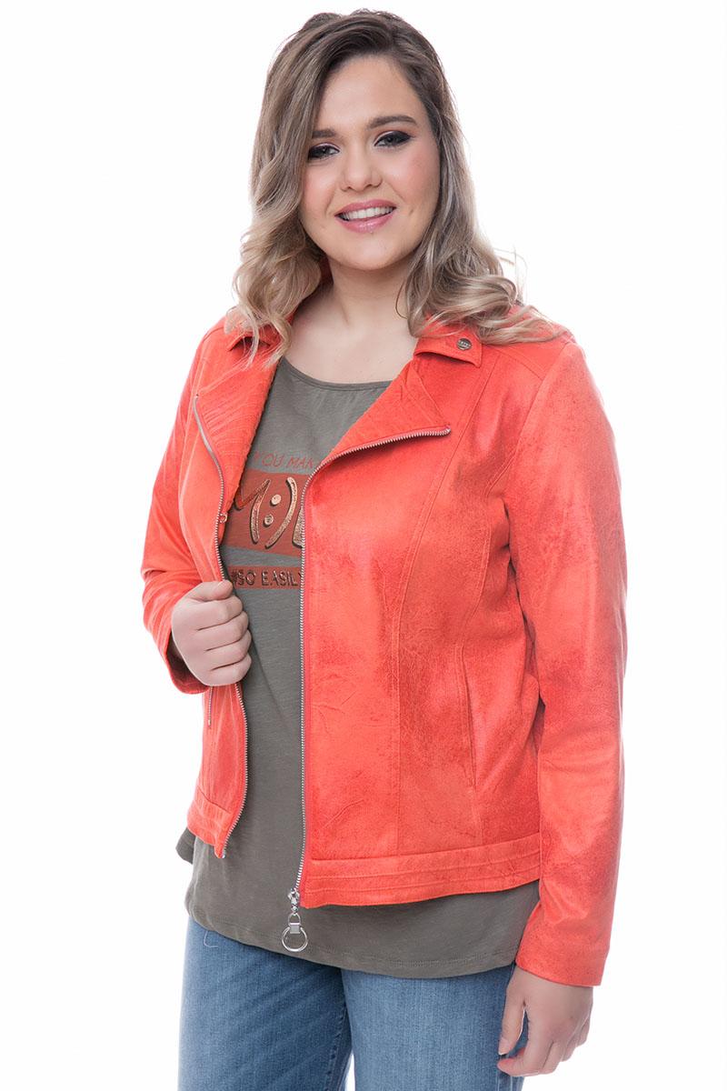 f55d63b6a0ac Leather-like jacket Πορτοκαλί χρώμα Μακριά μανίκια Διαθέτει γιακά Κλείσιμο  με κρίκο φερμουάρ Τσέπη με