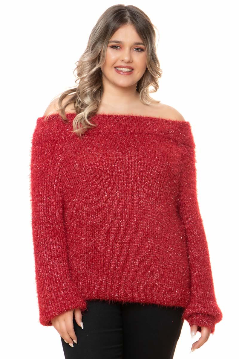 Πλεκτή μπλούζα Χρώμα κόκκινο Off-shoulders Μακριά μανίκια με ριπ τελείωμα Διαθέτει ασημί κλωστή Χνουδωτή Ανοιχτή λαιμόκοψη Ελαστικό ύφασμα Φαρδιά γραμμή Η γραμμή είναι φαρδιά - επιλέξτε το κανονικό σας μέγεθος. Ιδανικό πλεκτό για υπέροχα cossy outfits. Διαθέσιμo μεγέθη από S/M έως L/XL. Το μοντέλο έχει ύψος 1.75cm και φοράει μέγεθος S/M.