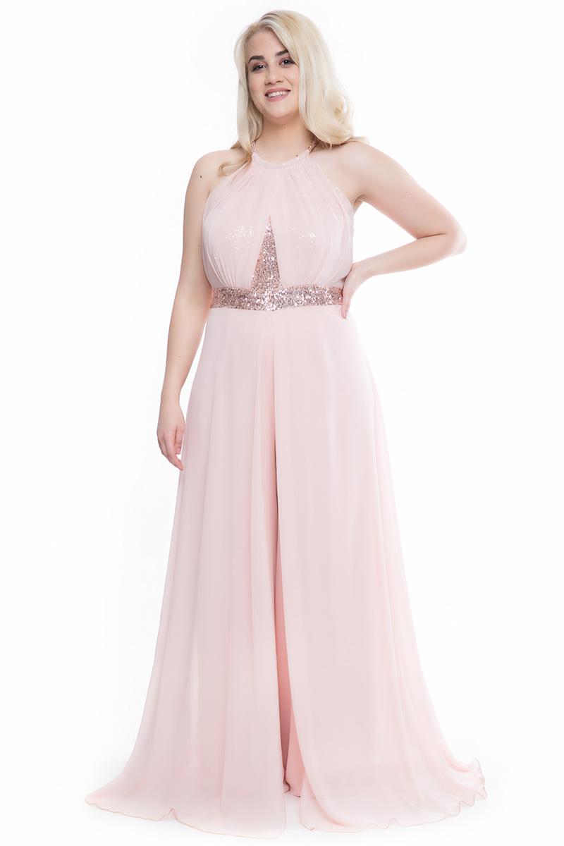 a7811e5bf151 Ολόσωμη φόρμα Χρώμα της πούδρας Halter-neck με κόσμημα στο πάνω μέρος  Ημιδιάφανη τουνίκ στο