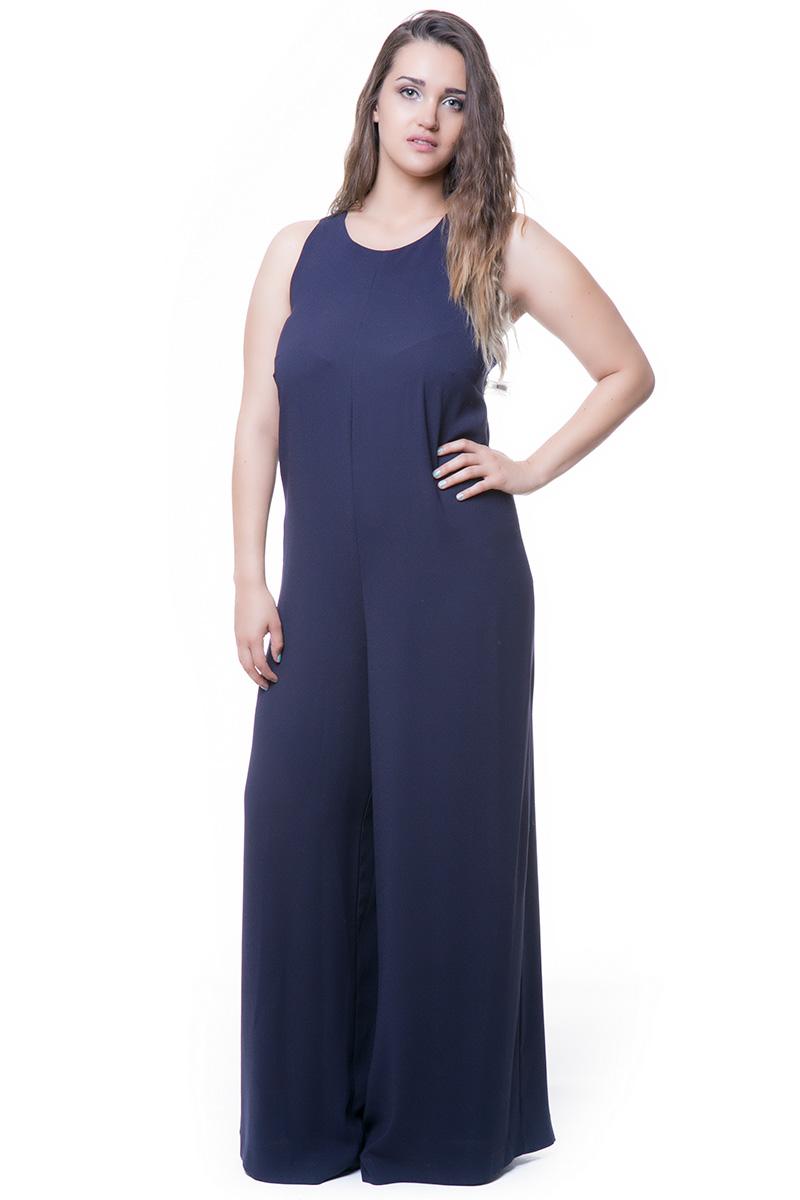 55865e49370d Ολόσωμη Φόρμα κρεπ Μπλε χρώμα Lace-up σχέδιο στην πλάτη Με φιόγκο Αμάνικο  Σταθερό ύφασμα