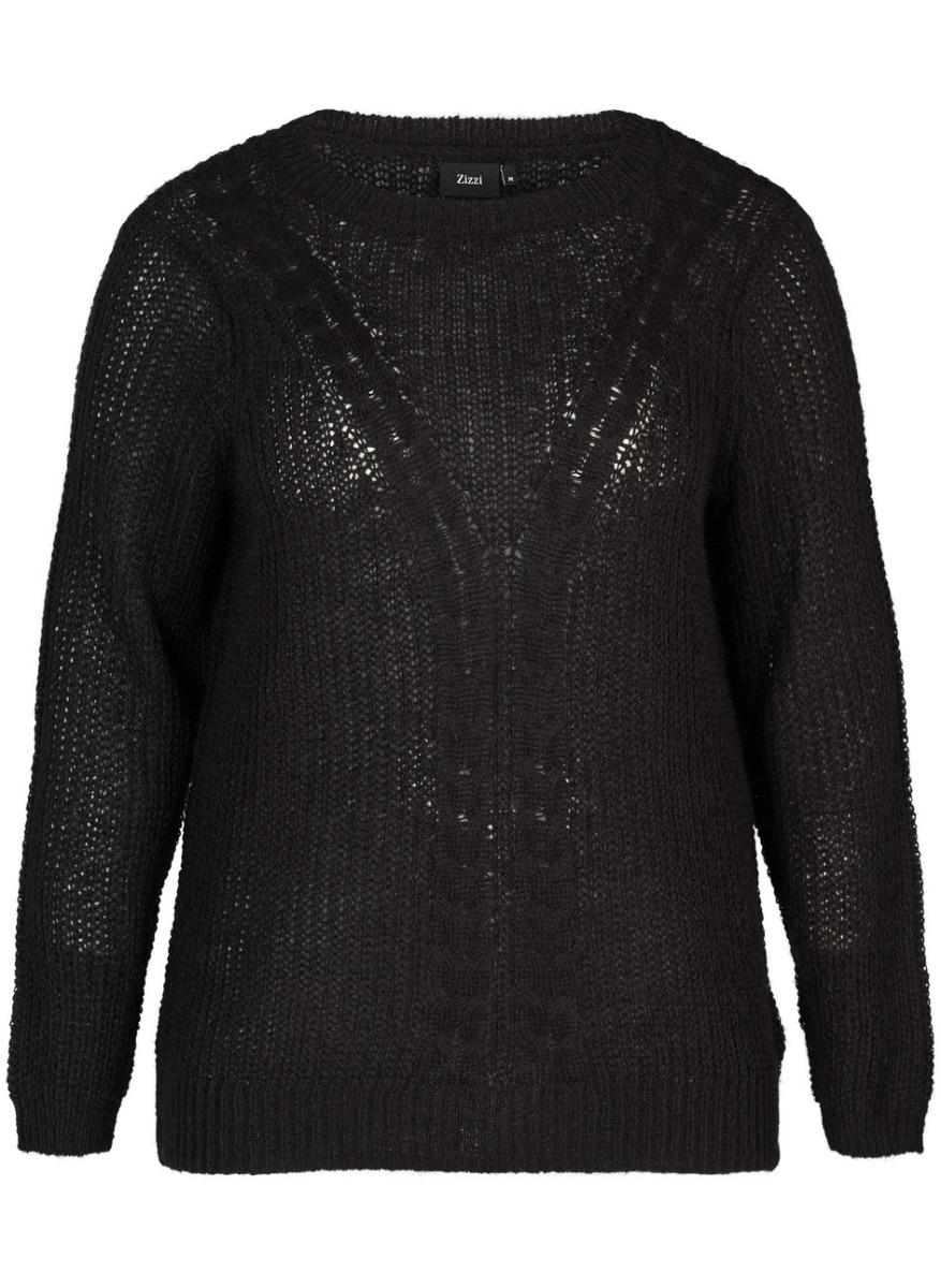 Πουλόβερ πλεκτό Χρώμα μαύρο Αραιή πλέξη Σχέδιο πλεξούδες Ριπ τελειώματα Μακριά balloon μανίκια Ανοιχτή λαιμόκοψη Ελαστικό ύφασμα Φαρδιά γραμμή Σύνθεση55%ACR 30%POL 15%M Η γραμμή είναι κανονική - επιλέξτε το κανονικό σας μέγεθος. Ιδανικό πουλόβερ για υπέροχα cosy outfits. Διαθέσιμα μεγέθη από S έως XL. Το μοντέλο έχει ύψος 1.75cm και φοράει μέγεθος S.