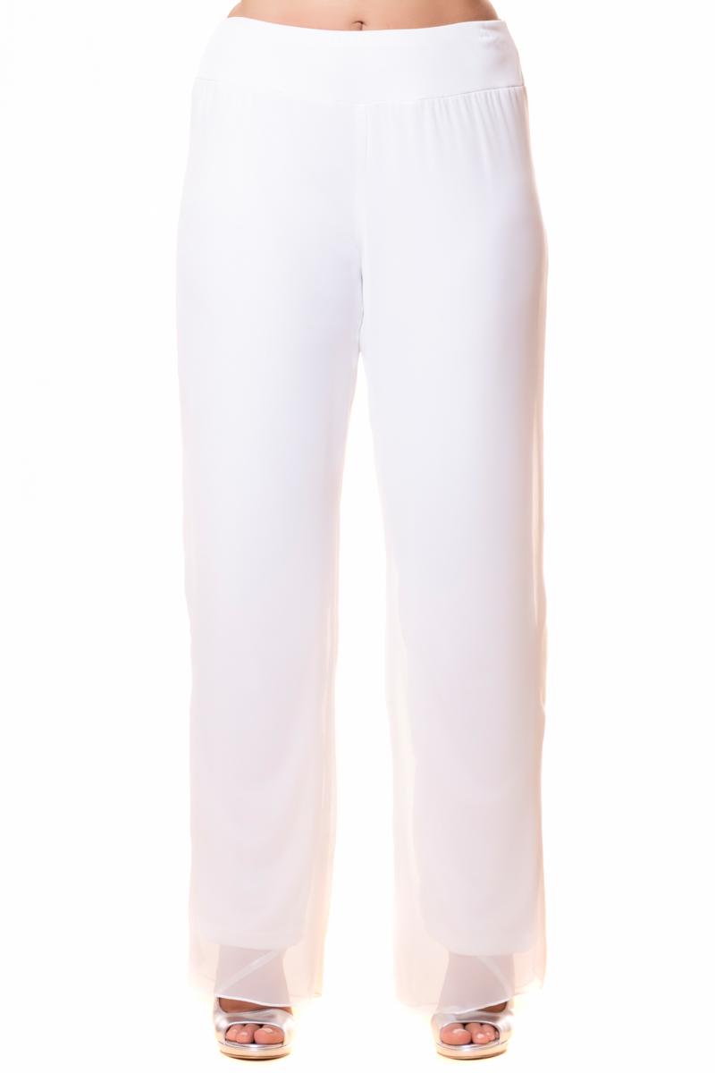 Παντελόνα μουσελίνα Λευκό χρώμα Ελαστικό ζωνάρι στην μέση Εσωτερική επένδυση Ίσια γραμμή Διαθέσιμα μεγέθη από S εώς 5XL. Το μοντέλο έχει ύψος 1.75cm και φοράει μέγεθος S.