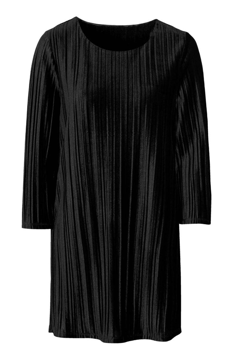 Μπλουζοφόρεμα πλισέ Χρώμα μαύρο Βελούδινη υφή Ανοιχτή λαιμόκοψη 3/4 μανίκια Μήκος: 80-90cm από τον ώμο Σταθερό ύφασμα Άλφα γραμμή Σύνθεση95%VISC 5%EL Η γραμμή είναι κανονική - Επιλέξτε το κανονικό σας νούμερο. Ιδανικό για winter looks. Διαθέσιμα μεγέθη από 42/44 έως 62/64.