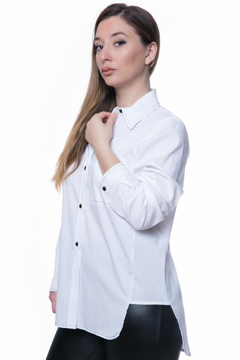 1f44dddea694 Πουκάμισο Χρώμα λευκό Γιακάς Εξωτερικές ραφές Τσέπη στο μπροστινό μέρος  Μακριά μανίκια Ασύμμετρη με το πίσω