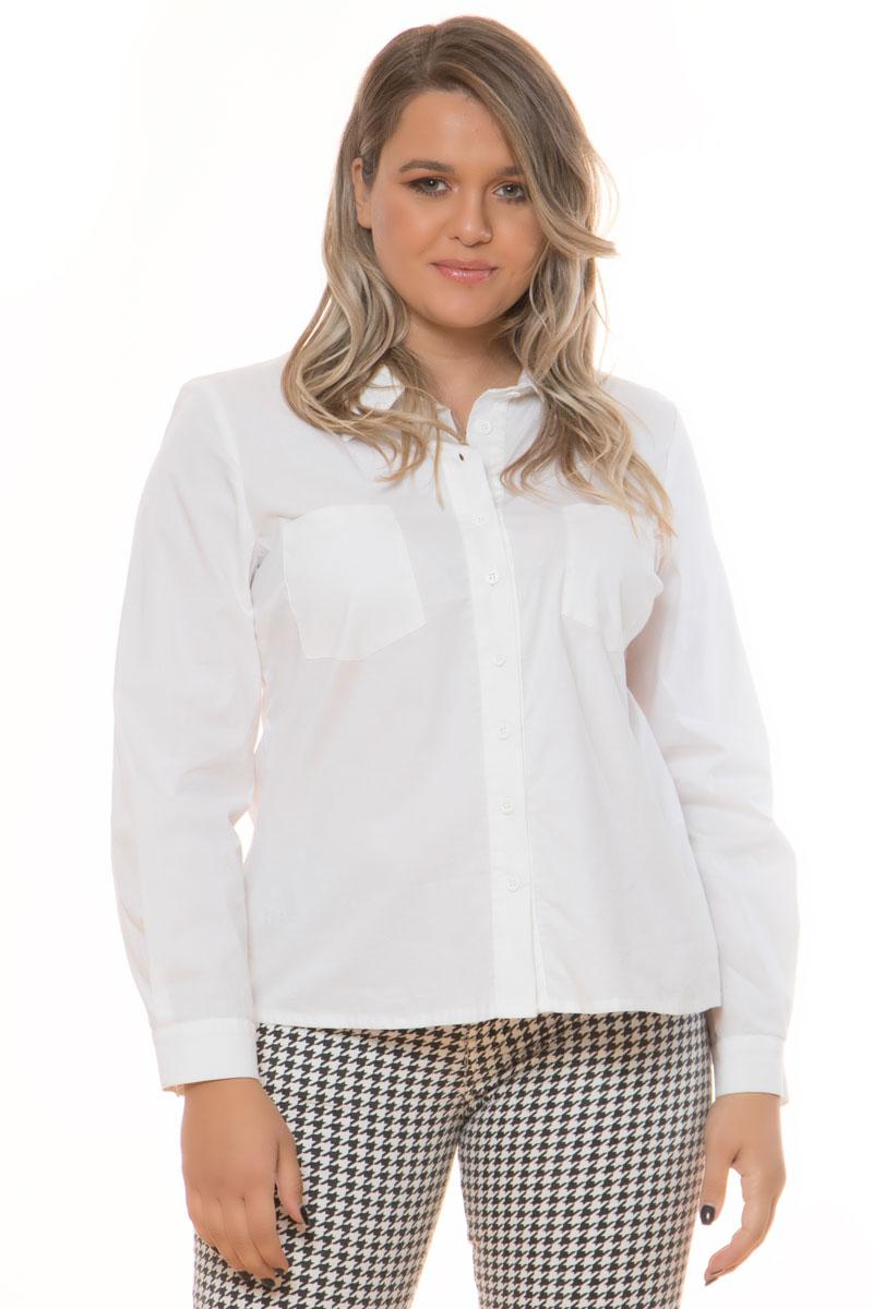 Πουκάμισο ποπλίνα Μακρύ μανίκι που κλείνει στην μανσέτα με κουμπί Λευκό χρώμα Έχει γιακά Τσέπες στο μπούστο Κλείνει με κουμπια Ίσια γραμμή Ελαστικό ύφασμα Σύνθεση:97%COT 3%EL Η γραμμή είναι κανονική - Επιλέξτε το κανονικό σας νούμερο. Ιδανικό για chic formal %26 all day looks. Διαθέσιμα μεγέθη από S έως 3XL. Το μοντέλο έχει ύψος 1.75cm και φοράει μέγεθος S.