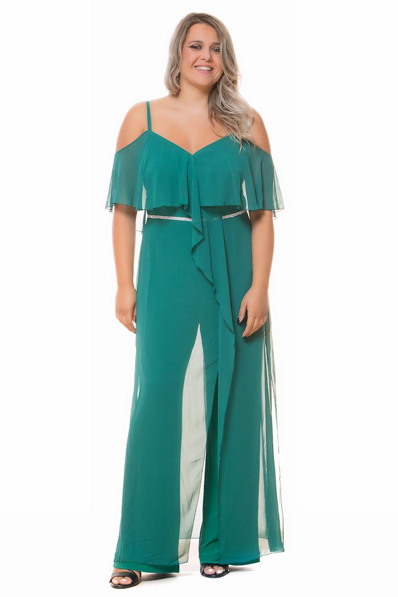 Ολόσωμη φόρμα Πράσινο χρώμα Off-shoulders με τιράντες V-λαιμόκοψη Overlay τουνίκ στο μπούστο Με στρας στην μέση Διαθέτει ημιδιάφανη τουνίκ στο κάτω μέρος Κλείσιμο με φερμουάρ Ελαστική εσωτερική παντελόνα Ίσια γραμμή Σύνθεση: 100%POL Η γραμμή είναι κανονική - επιλέξτε το κανονικό σας μέγεθος. Ιδανικό outfit από το πρωί μέχρι το βράδυ. Διαθέσιμα μεγέθη από 44 έως 66. Το μοντέλο έχει ύψος 1.75cm και φοράει μέγεθος 44. Επικοινωνήστε μαζί μας, τηλεφωνικά ή με e-mail, για να ενημερωθείτε για τις τιμές%2A και τις λεπτομέρειες που αφορούν το βραδινό φόρεμα που σας ενδιαφέρει και να ολοκληρώσετε την παραγγελία σας. %2AΙσχύει μόνο για τα βραδινά φορέματα