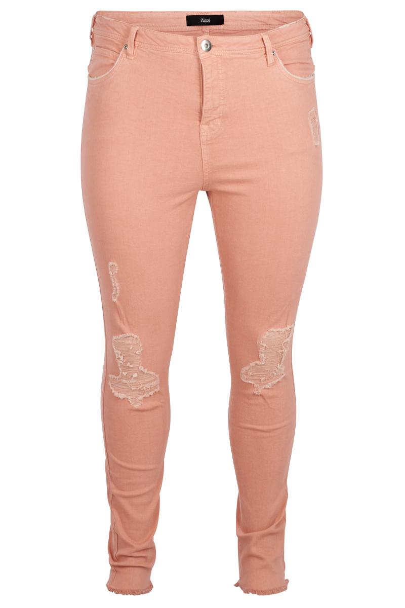 Παντελόνι με σχισίματα στα γόνατα σε ροζ χρώμα νέες αφίξεις   ενδύματα   παντελόνια   κολάν   brands   zizzi