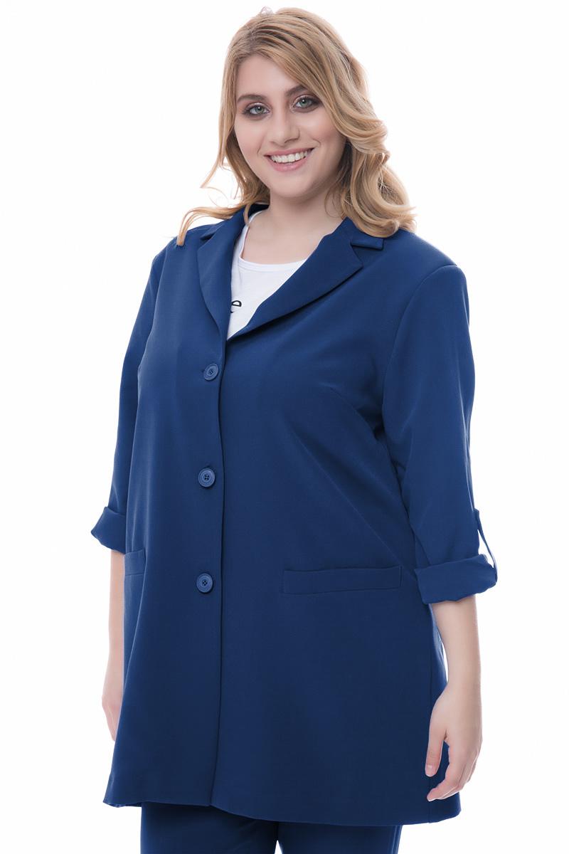 35ad6865f400 Σακάκι blazer Μπλε χρώμα Έχει γυρισμένα μανίκια Τσέπες Κλασικό γιακά  Κλείνει με 3 κουμπιά Ίσια γραμμή
