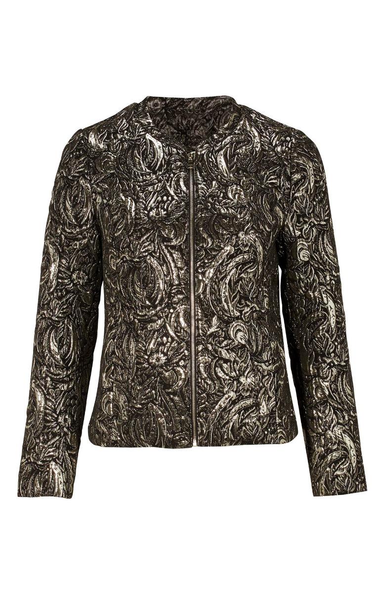 Μπροκάρ jacket Χρυσό χρώμα Κοντό Μακριά μανίκια Κλειστή λαιμόκοψη Κλείνει με φερμουάρ Τσέπες ΄Ισια γραμμή Σύνθεση:58%POL 30%COT 12%MET Διαθέσιμα μεγέθη από 38/40 έως 58/60. Το μοντέλο έχει ύψος 1.75cm και φοράει μέγεθος 42/44.