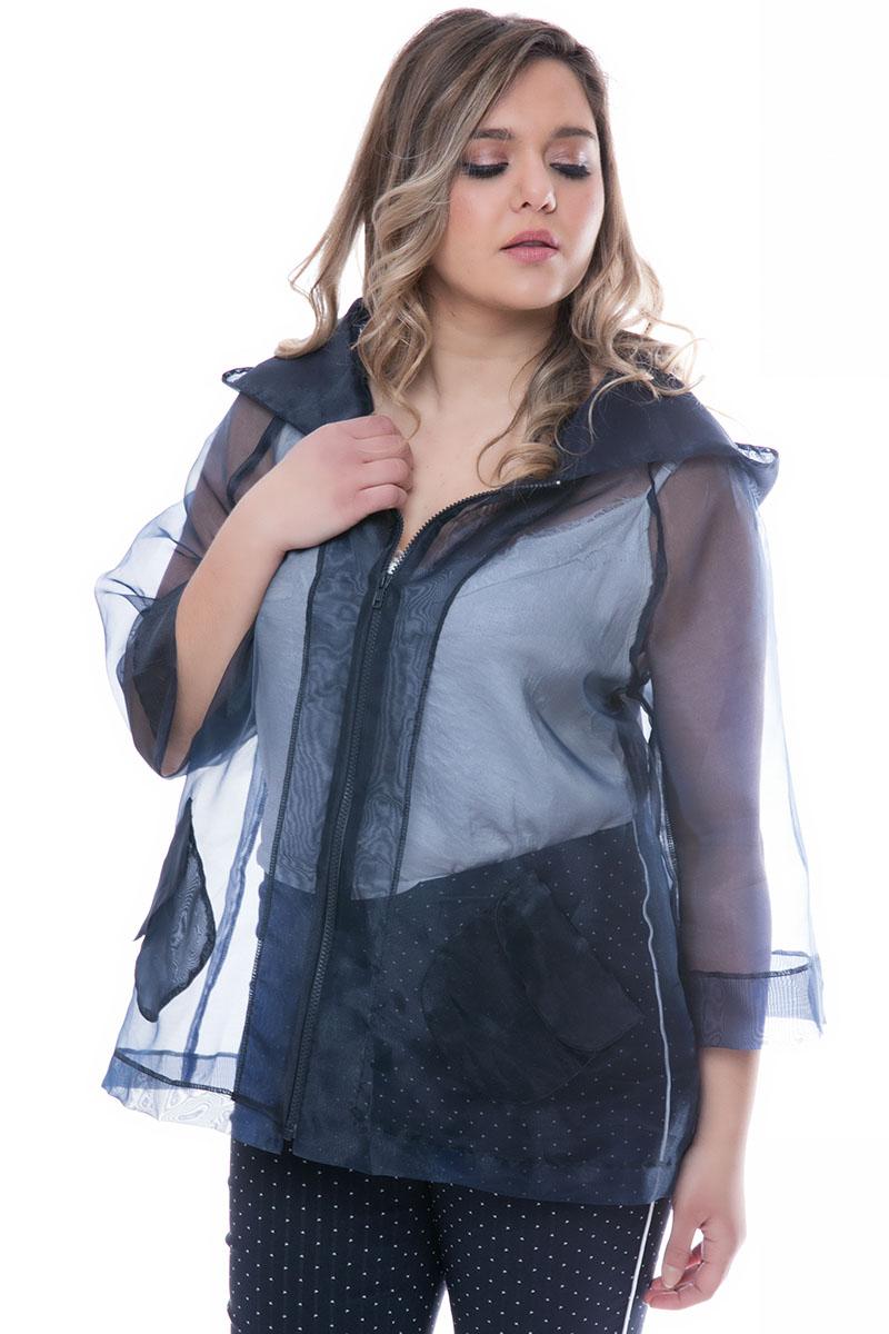 Διάφανη ζακέτα Μπλε χρώμα Με κουκούλα Έχει τσέπες Μακριά μανίκια Με φερμουάρ Σύνθεση: 100% POL Η γραμμή είναι κανονική - επιλέξτε το κανονικό σας μέγεθος.Ιδανικό outfit από το πρωί μέχρι το βράδυ.Διαθέσιμα μεγέθη από ΧS έως XL.Το μοντέλο έχει ύψος 1.75cm και φοράει μέγεθος S.
