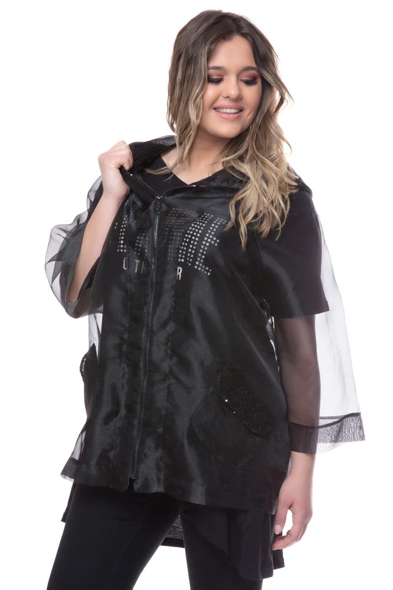 Διάφανη ζακέτα Μαύρο χρώμα Με κουκούλα Έχει τσέπες Μακριά μανίκια Με φερμουάρ Σύνθεση: 100% POL Η γραμμή είναι κανονική - επιλέξτε το κανονικό σας μέγεθος.Ιδανικό outfit από το πρωί μέχρι το βράδυ.Διαθέσιμα μεγέθη από ΧS έως XL.Το μοντέλο έχει ύψος 1.75cm και φοράει μέγεθος S.