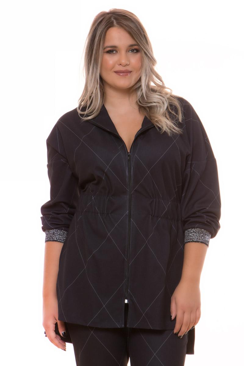 Ζακέτα μεσάτη Μαύρο χρώμα Τύπωμα άσπρους ρόμβους Κλειστή λαιμόκοψη Μακριά μανίκια με λάστιχο και λούρεξ Λάστιχο στη μέση Κλείνει με φερμουάρ Ίσια γραμμή Ελαστικό ύφασμα Σύνθεση: 100%POL Η γραμμή είναι κανονική - Συμβουλευτείτε το μεγεθολόγιο.Κατάλληλη για βραδινές glam εμφανίσεις!Διαθέσιμα μεγέθη από S έως XXL.Το μοντέλο έχει ύψος 1.75cm και φοράει μέγεθος S.