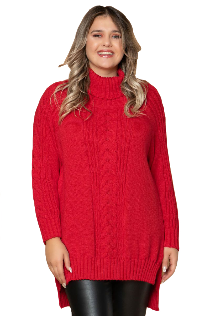 Πλεκτή Hi-Lo μπλούζα Χρώμα κόκκινο Με σχέδιο στην πλέξη Ζιβάγκο λαιμόκοψη Μακριά μανίκια με ριπ τελείωμα Ελαστικό ύφασμα Φαρδιά γραμμή Σύνθεση50%PC 50%COT Η γραμμή είναι φαρδιά - επιλέξτε το κανονικό σας μέγεθος. Ιδανικό πλεκτό για υπέροχα day outfits. Διαθέσιμo μεγέθη από S/M έως L/XL. Το μοντέλο έχει ύψος 1.75cm και φοράει μέγεθος S/M.